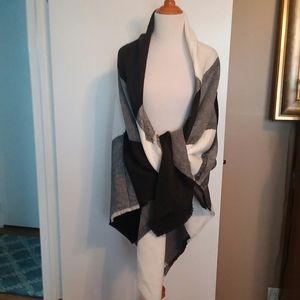 ASOS Oversized Plaid Black & White Blanket Scarf